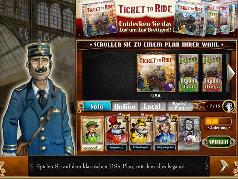 Ticket to Ride iOS Screenshots