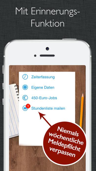 450 euro job zeiterfassung mit stundenzettel zum verschicken an arbeitgeber im app store. Black Bedroom Furniture Sets. Home Design Ideas