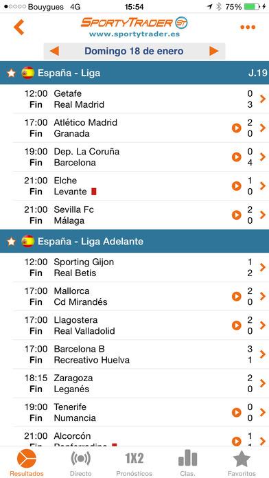 Resultados en directo - Fútbol en vivo,Tenis,Baloncesto - SportyTrader Screenshot