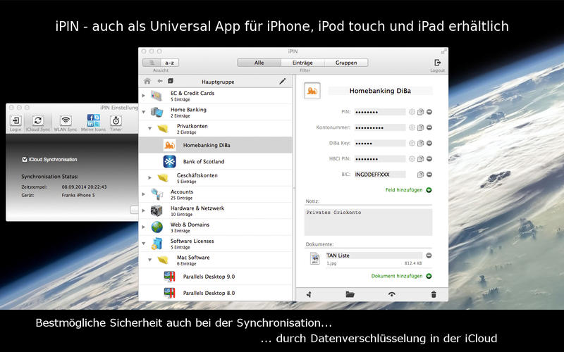 iPIN - Secure PIN & Passwort Safe Screenshot
