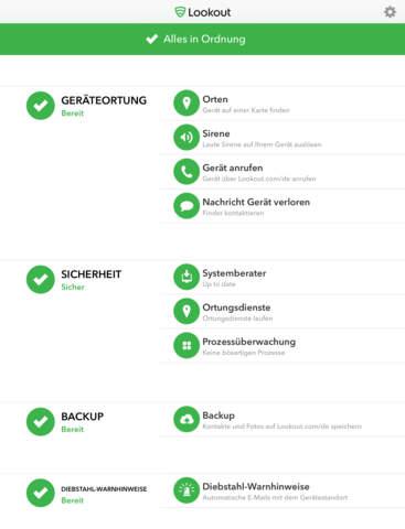Lookout - Sicherheit, Backup und Geräteortung Screenshot