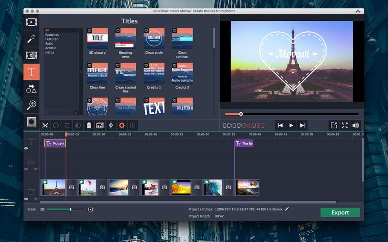 Slideshow Maker Movavi: Create movies from photos Screenshots