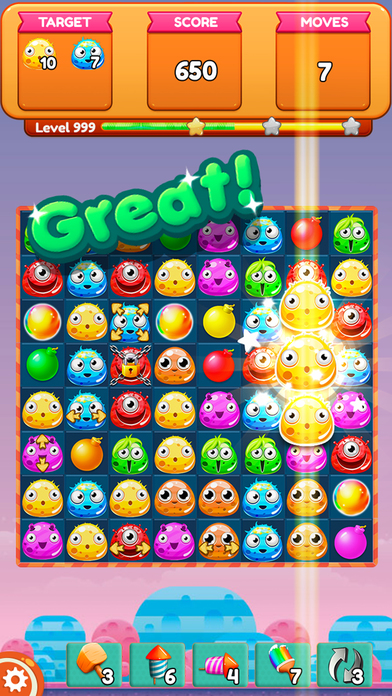 Monster Soda Mania . Match 3 Puzzle