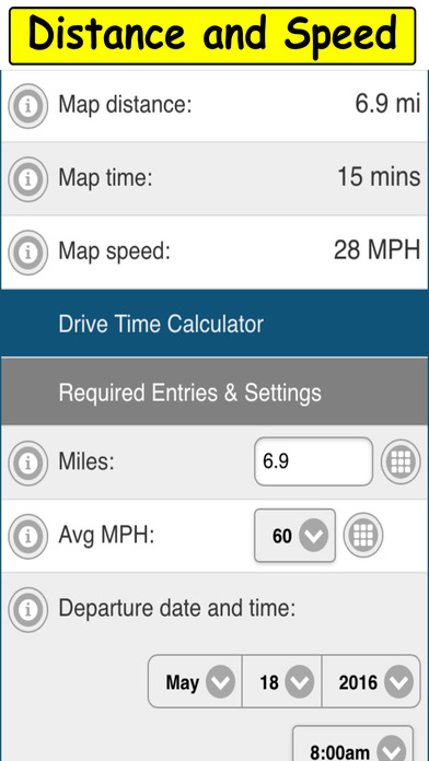 Drive Time Calculator Screenshots