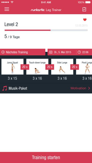 Runtastic Leg Trainer: Workout für deine Beine Screenshot