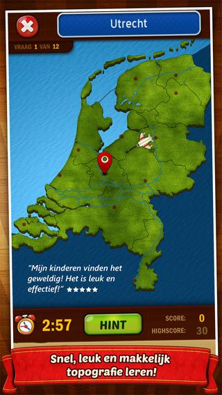 Topo Nederland: Het leukste aardrijkskunde spel om snel en makkelijk topografie te leren Screenshot