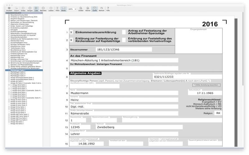 SteuerSparErklärung 2017 Lite Screenshot