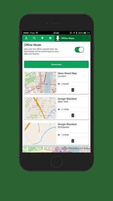 Offline Maps - Offline Maps for Map Quest, Open Street Maps, Cycle Maps, Google Maps and Bing Maps Screenshot