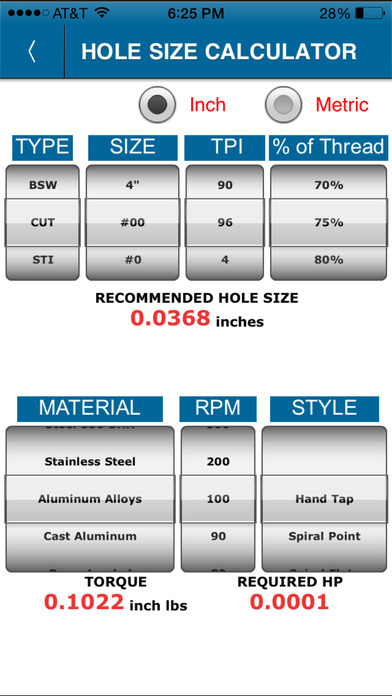 Tap Hole Size Calculator On The App Store