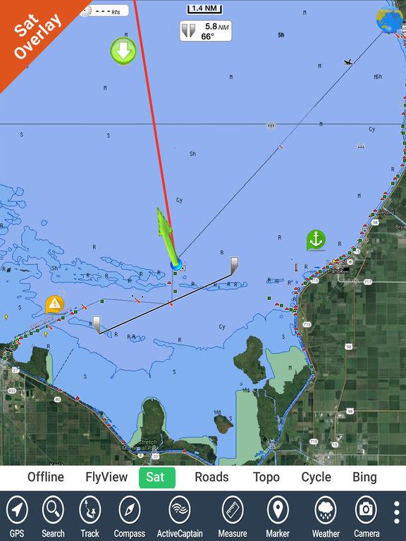 39 lake okeechobee florida hd gps fishing chart 39 in de app store for Florida fishing app