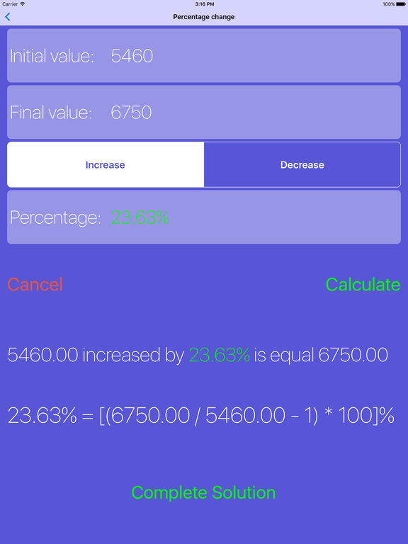 Percentage Calculator -  SHOWS THE CALCULATION !!! Screenshots