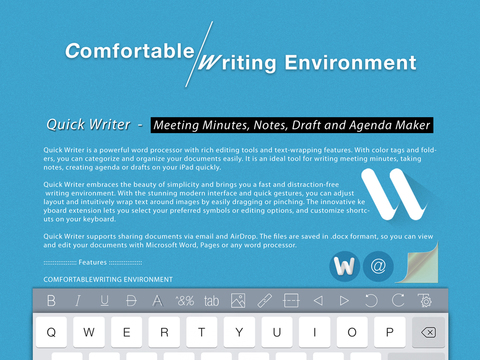quick writer meeting minutes notes draft and agenda maker ipad