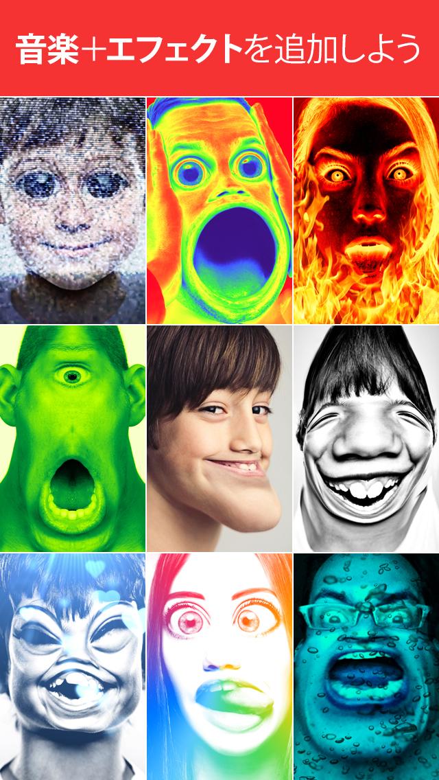 35 種類の爆笑変顔チェンジ(17 種類が無料) \u2022 19 種類のぶっ飛びエフェクト(11 種類が無料) \u2022 11 種類のバカうけ声チェンジ(4  種類が無料) \u2022 ライブラリから音楽