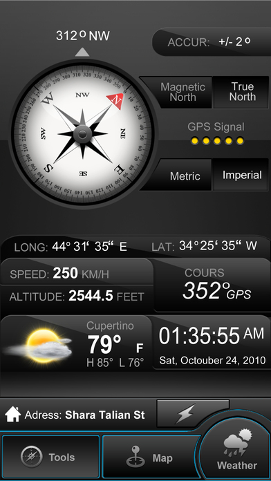 Weather Compass Gps+ (Weather, Map, Speedometer, Altimeter, Course) Screenshots