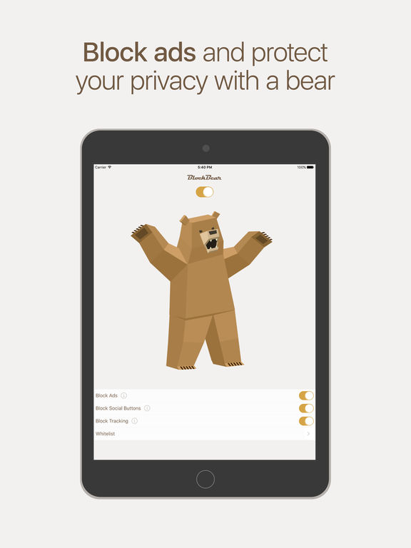 BlockBear: Block Ads, Protect Privacy With a Bear Screenshots