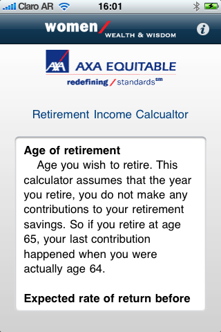Retirement Income Calculator Screenshot