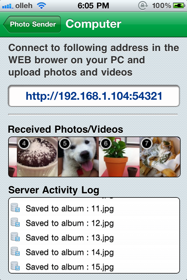WiFi Photo Sender – Share Multi Photos and Videos on WiFi Screenshot