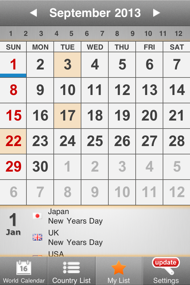 VQ World Holidays Calendar 2012-2013 for iPhone screenshot 4