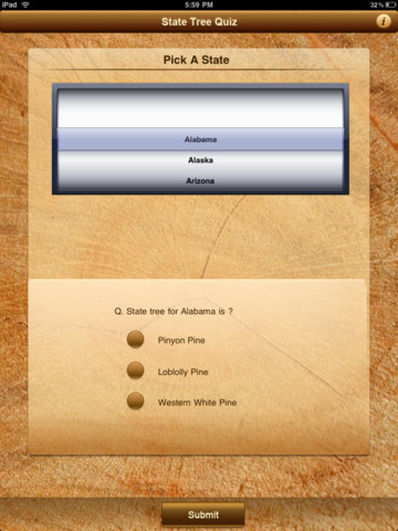 MyNature State Tree Quiz iPad Screenshot 1