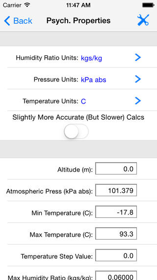 HVAC Psychrometric LT iPhone Screenshot 3
