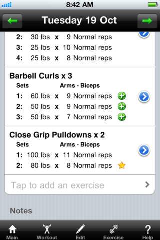 Workout Diary Lite iPhone Screenshot 2