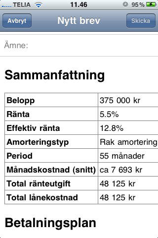 Lånekalkylator iPhone Screenshot 3