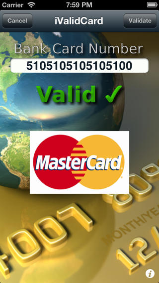 iValidCard - Credit Card and Debit Card Number Validator iPhone Screenshot 1