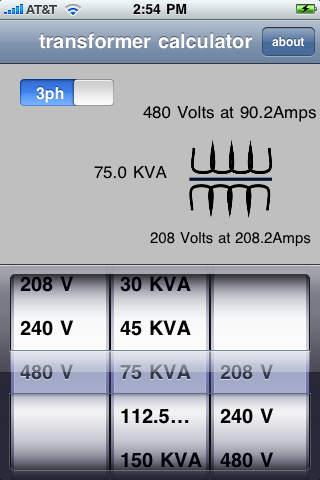 Transformer Calculator iPhone Screenshot 1