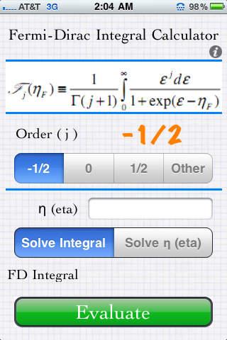 Fermi-Dirac Integral Calculator