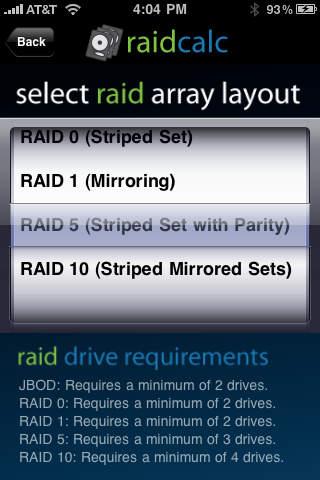 Cps concieo raidcalc app for ipad iphone utilities Raid 5 calc