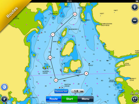 Navionics Boating HD: marine & lakes charts, routes, GPS tracks for cruising, fishing, yachting, sailing, diving.  Screenshot