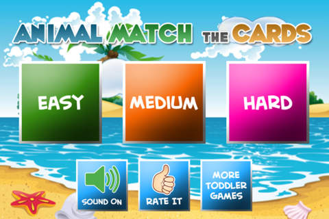 Animal Match Cards for Kids and Toddlers Game screenshot 1