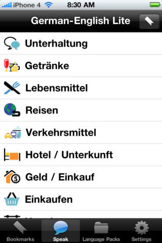 German to English Voice Talking Translator Phrasebook EchoMobi Travel Speak LITE