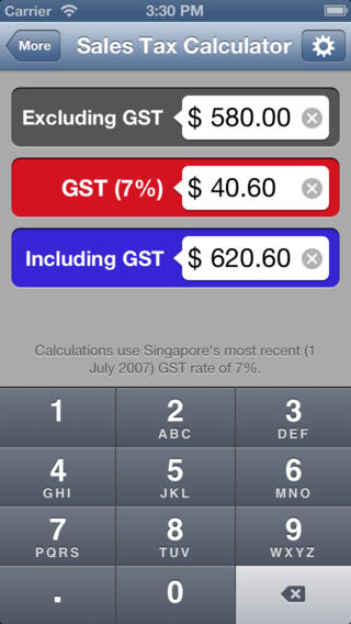 Singapore GST Calculator - Goods and Services Tax