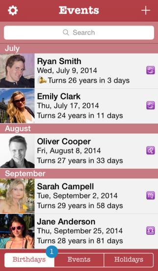 Events - birthdays & holidays organizer iPhone Screenshot 1