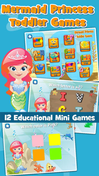 Mermaid Princess Toddler Free: Under the Sea Educational Mini Games for Boys and Girls