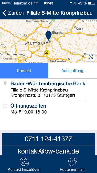 BW-Bank Filialfinder iPhone Screenshot 3
