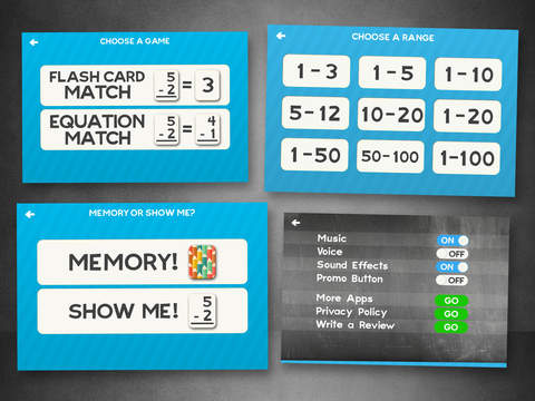 Subtraction Flashcard Match Games for Kids in Kindergarten, 1st and 2nd Grade Learning Flash Cards Free Screenshots