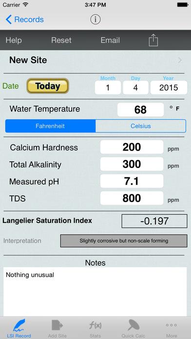 Langelier Saturation Index Calculator iPhone Screenshot 1