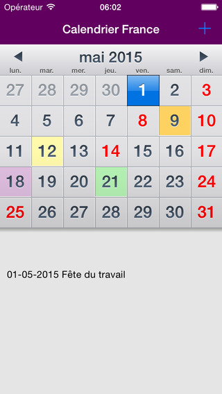 Calendrier 2015 Fériés France AdFree