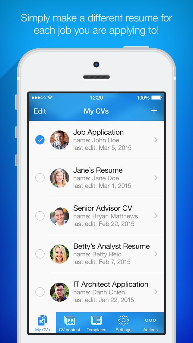 Edit resume on iphone