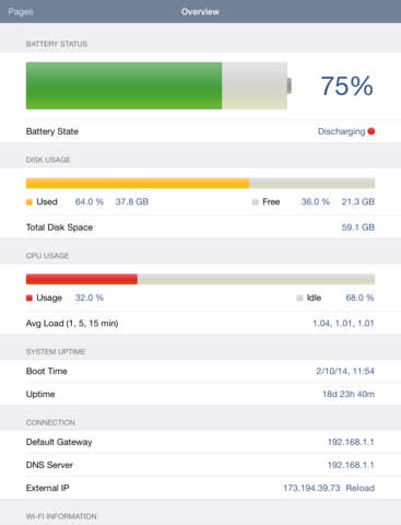 System Status Lite - battery charge, network information & performance monitor screenshot