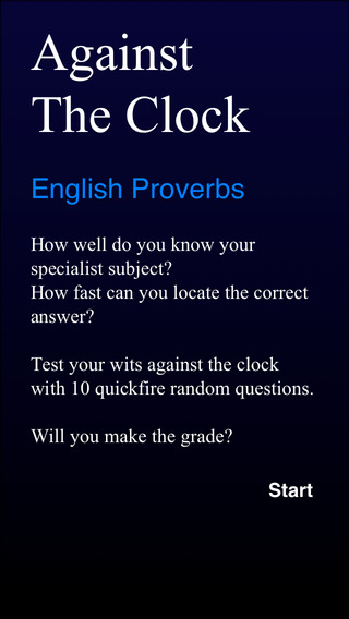Against The Clock - English Proverbs