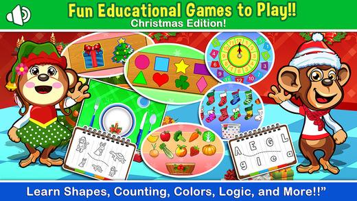 A Christmas Educational Preschool Game for Kindergarten Toddler - children education learning monkey
