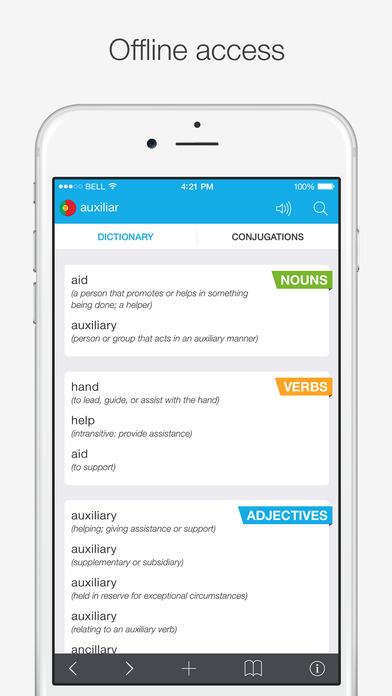 Translations: Portuguese - English Dictionary Screenshots