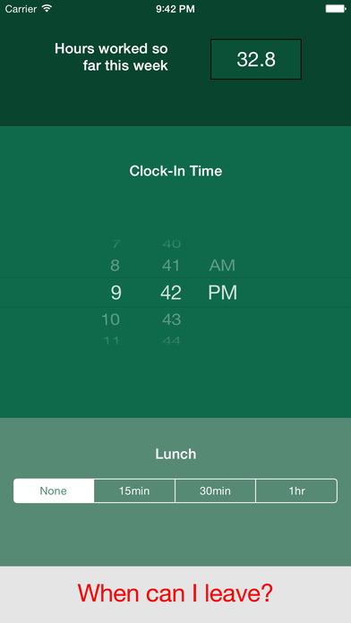 ClockOut iPhone Screenshot 1
