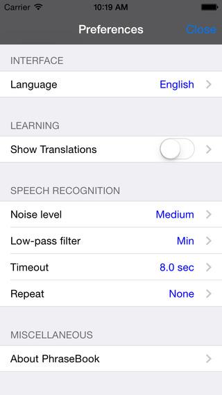 Spanish-Norwegian Talking Travel Phrasebook iPhone Screenshot 4