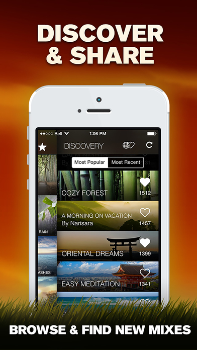 Screenshots of Relax Melodies Oriental Meditation: White noise & sleep zen sounds for relaxation, yoga and health for iPhone