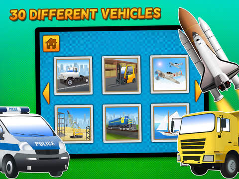 Kids & Play Cars, Trucks, Emergency & Construction Vehicles Puzzles – Freescreeshot 2