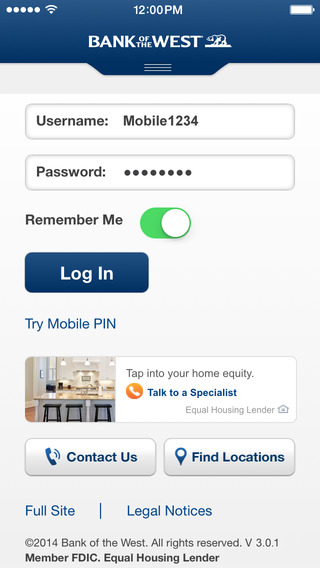 Bank of the West Mobile Banking iPhone App
